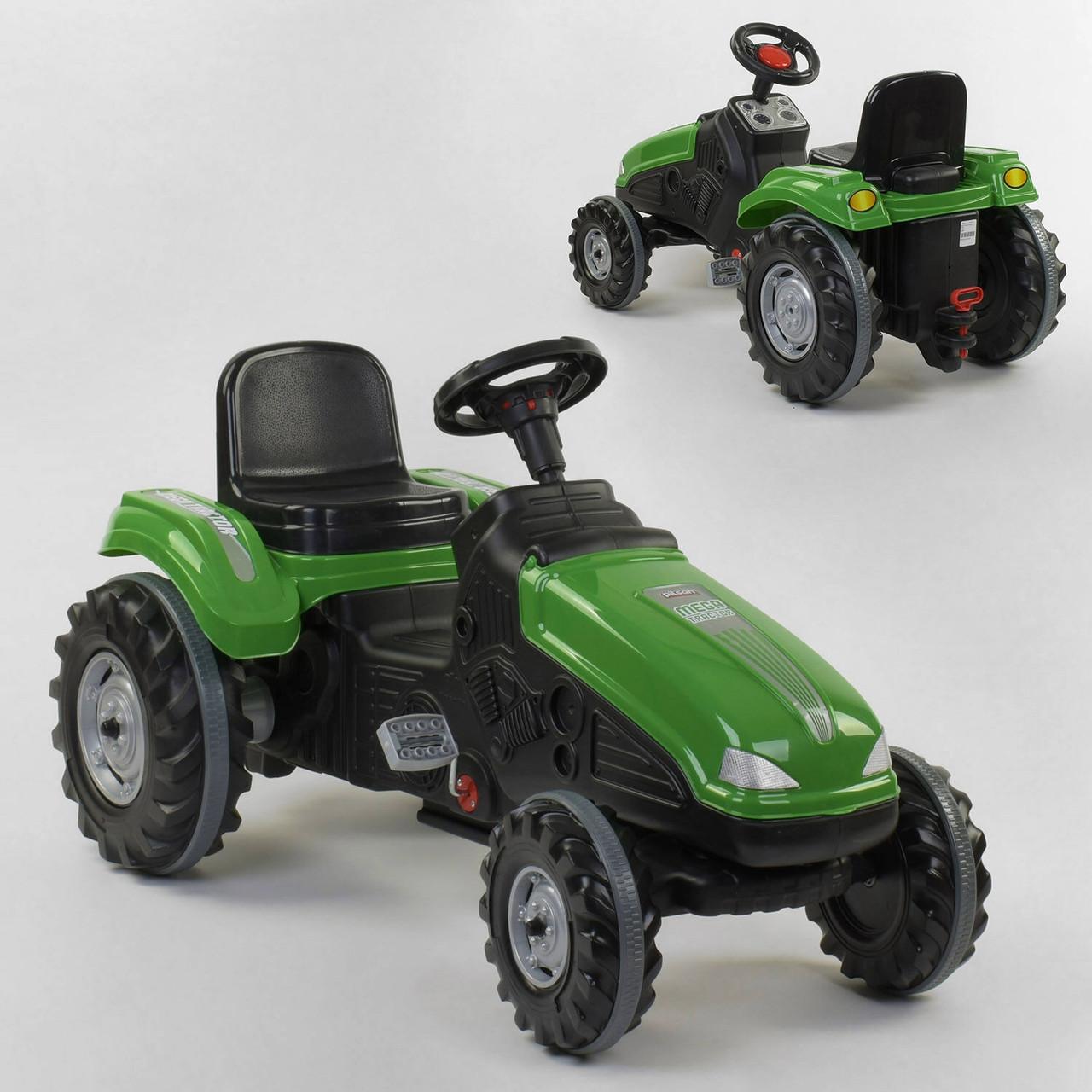 Дитячий педальний трактор Pilsan 07-321 Зелений, клаксон, регульоване сидіння, колеса з гумовими накладками