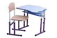 Комплект стол парта +стул ученический 1-местный антисколиозный  регулируемый по высоте №4-6 ГФ-ХСФ