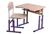 Комплект стол парта +стул ученический 1-местный антисколиозный  регулируемый по высоте №4-6 БФ-ПБФ