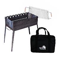 Раскладной мангал чемодан на 8 шампуров из стали с сумкой и решеткой