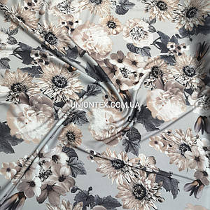 Ткань шелк-армани принт цветы на сером