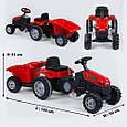 Дитячий педальний трактор з причепом Pilsan Active 07-316 Червоний, клаксон, регульоване сидіння, фото 4