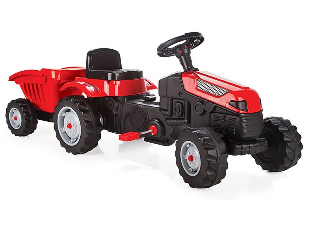 Дитячий педальний трактор з причепом Pilsan Active 07-316 Червоний, клаксон, регульоване сидіння