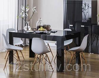 Обеденный стол 160  черный глянец Прага