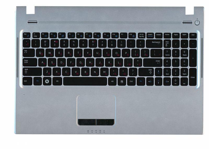 Клавиатура для ноутбука Samsung (Q530) Black, с топ панелью (Silver), RU