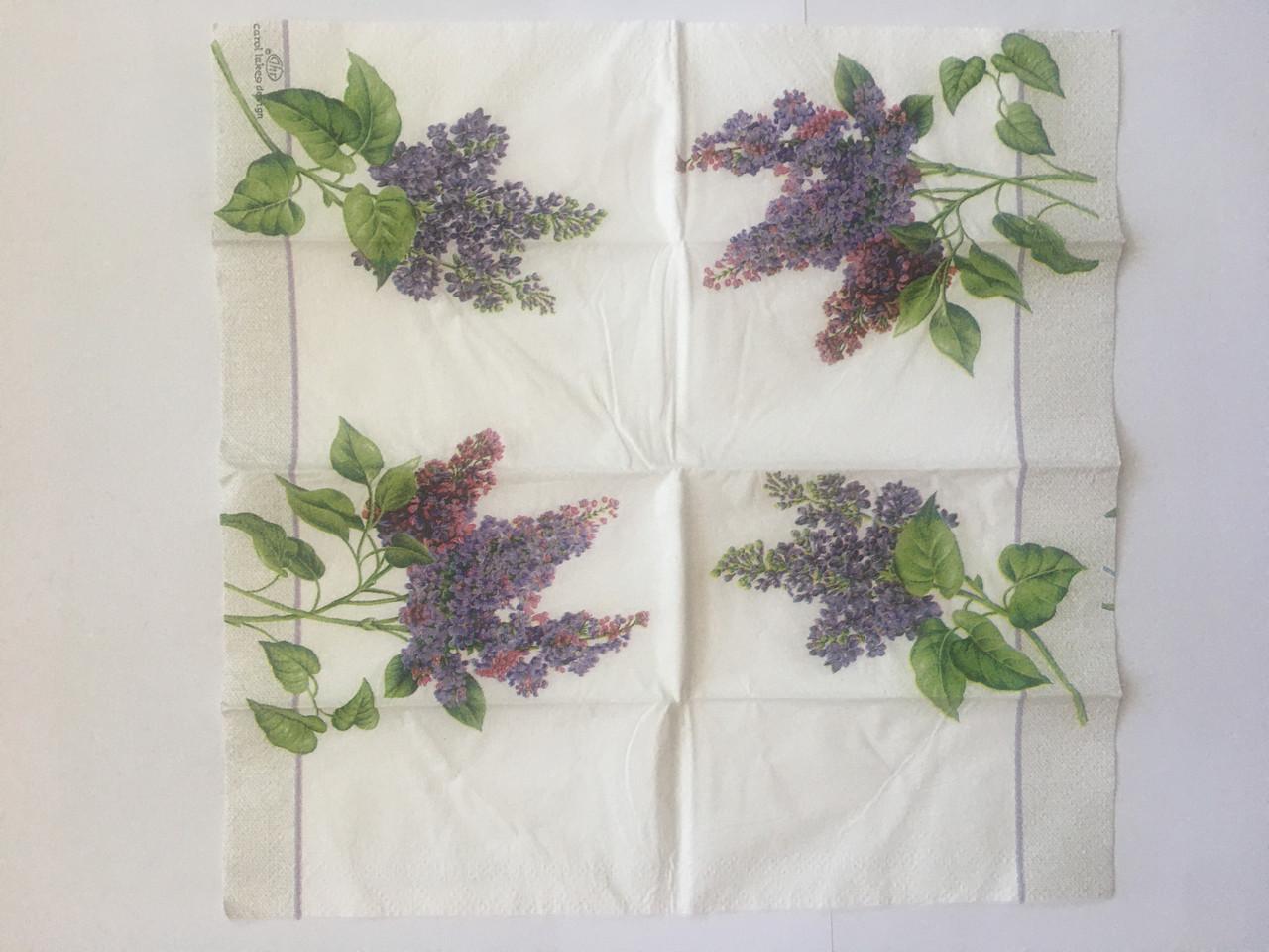 Серветка для декупажу 21х21 см квіти бузок