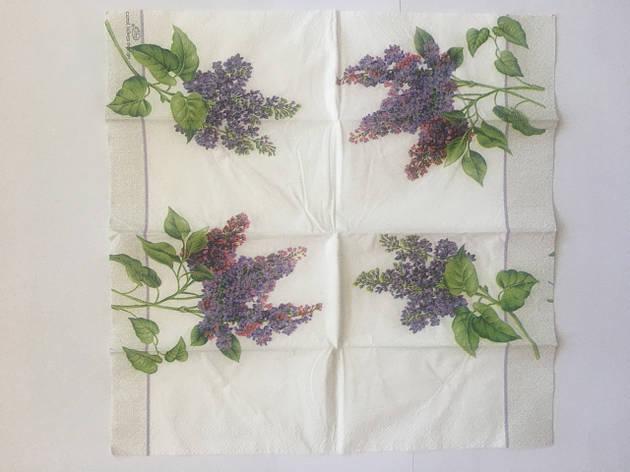 Серветка для декупажу 21х21 см квіти бузок, фото 2