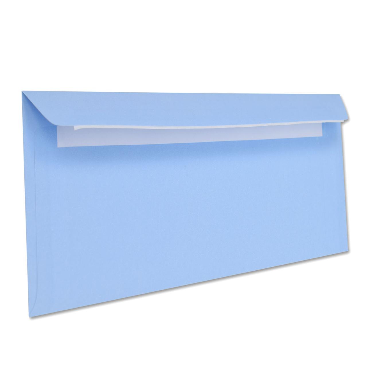 Цветной конверт Е65 (1+0) самоклеющийся с силиконовой лентой, голубой