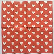 Салфетка для декупажа  21х21 см  сердечки на красном фоне