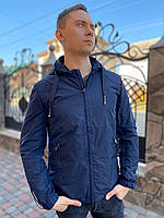 Мужская куртка ветровка бомбер парка летняя короткая весенняя осень удлиненная молодежная тонкая легкая синяч