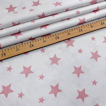 """Турецкая хлопковая ткань ранфорс """"Звездопад розовый на белом"""" 240 см, фото 2"""
