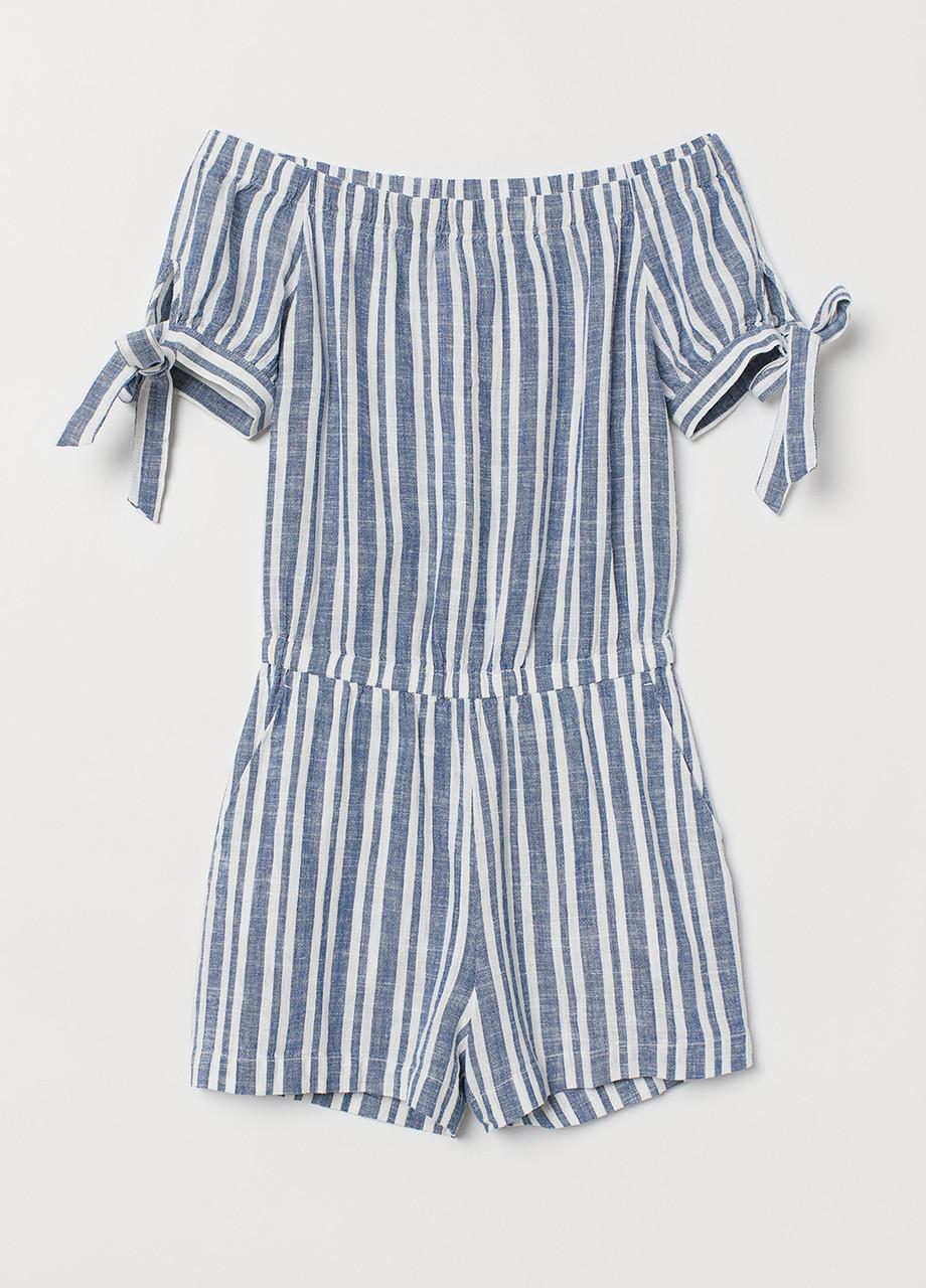 Комбинезон H&M комбинезон-шорты полоска синий лен