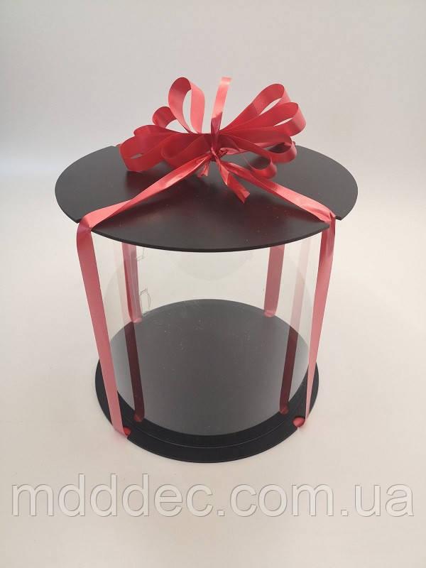 Коробка для торта 23*25см.Прозрачная коробка для торта тубус.Упаковка для торта тубус.