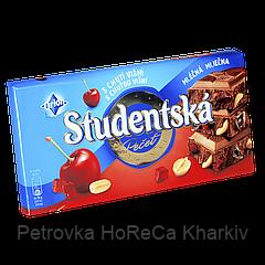 "Шоколад Studentska Mlecna Visna""ВИШНЯ"" молочный с арахисом и кусочками желе, 180г (1ящ/15шт)"