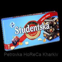 """Шоколад  Studentska HORKA-HORKA """"ЧЕРНЫЙ"""" с арахисом, изюмом и цитрусовым желе,180г (1ящ/15шт)"""