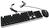 Комплект проводная клавиатура LED и оптическая мышь UKC M-416