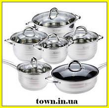 Набір каструль з нержавіючої сталі UNIQUE UN-5033 ( 12 предметів) Набір посуду