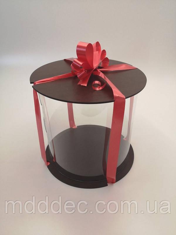 Коробка для торта 35*35см. Прозрачная коробка для торта тубус.Упаковка для торта тубус.