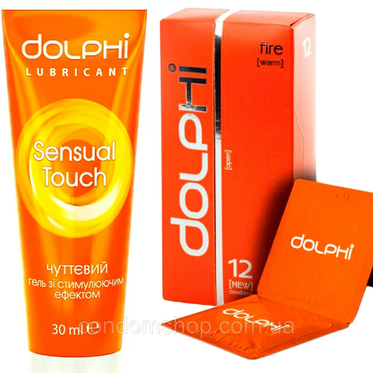 "Набір Dolphi lux ,,Полум'я пристрасті"":презервативи Dolphi Fire +гель-змазка Sensual Touch"