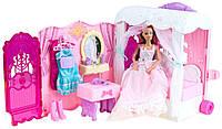"""Набор детской игрушечной мебели для куклы """"Спальня, ванная, гардероб"""" (с аксессуарами, одеждой)"""
