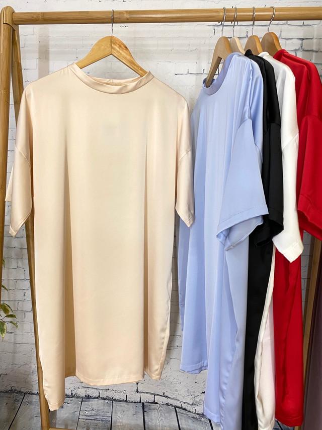 Шелковая удлиненная футболка-туника