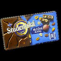 "Шоколад Studentska Mlecna-Mlecna ""МОЛОЧНЫЙ"" с арахисом и желе,180г (1ящ/16шт)"