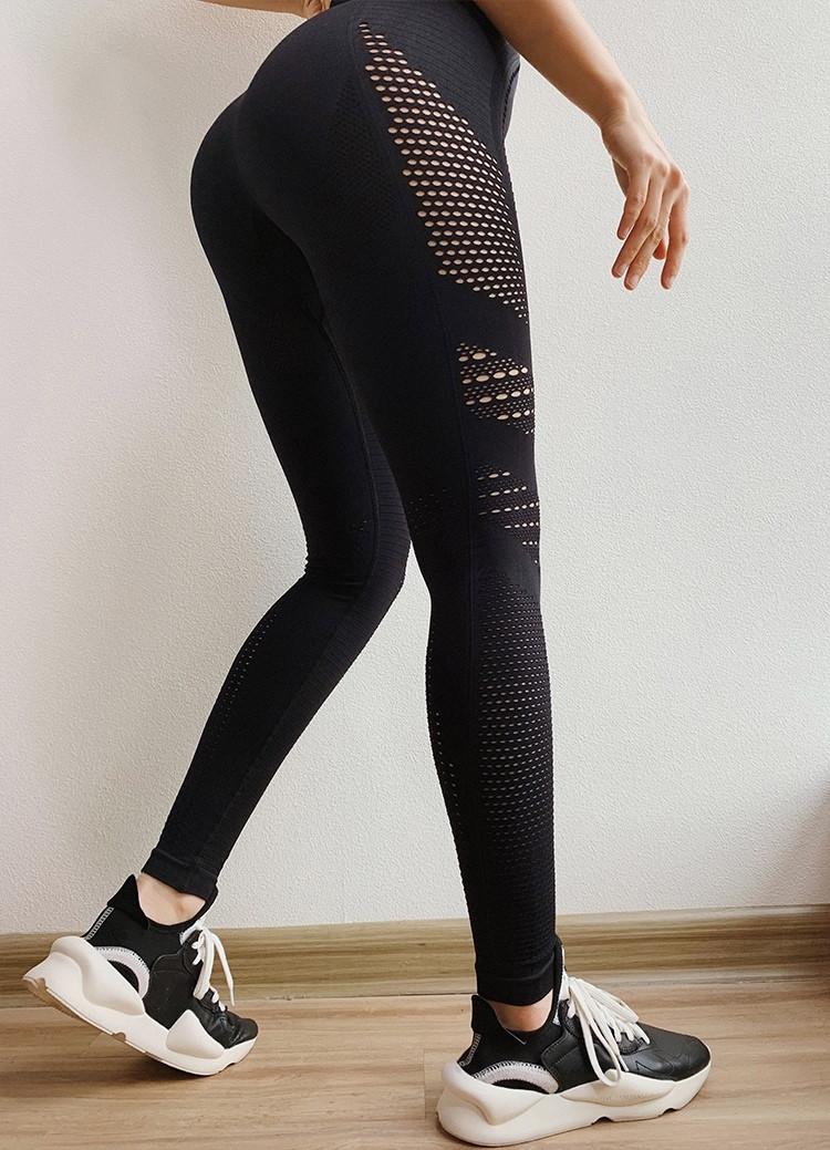 Женские спортивные леггинсы черные 4224