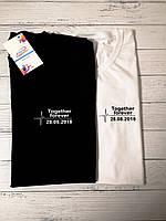 """Парные футболки """"Togezer forever"""" с Ваше датой"""