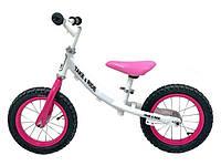 Детский велобег Take&Ride на резиновых надувных колесах RB-40 Classic бело-розовый.