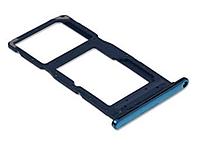 Лоток для Sim-карты и карты памяти для Huawei P Smart 2019 (POT-LX1), голубой, Aurora Blue