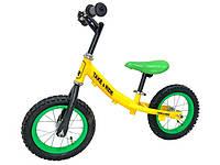 Детский велобег Take&Ride на резиновых надувных колесах RB-40 Classic желто-салатовый..