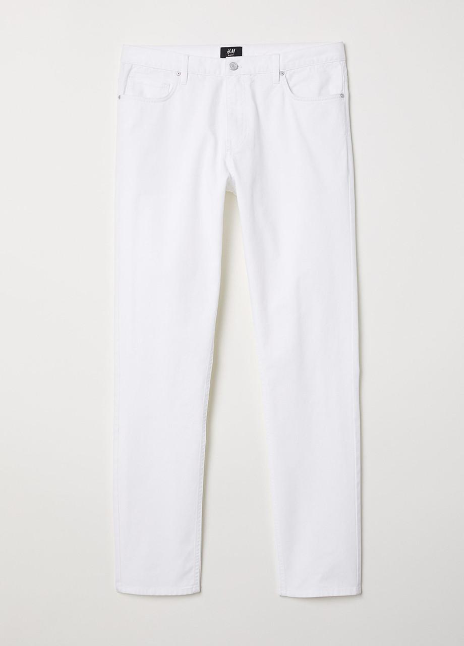 Белые демисезонные скинни джинсы H&M