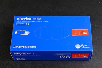 Перчатки нитриловые Mercator Medical, цвет Синий, Размер L (100 шт.)