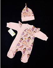 Детский комплект для девочки Одежда для девочек 0-2 HappyTot Украины 941 Розовый