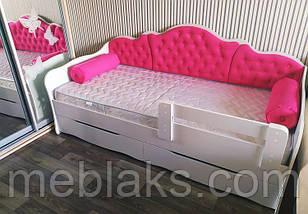 """Кровать """"Л-6""""  для девочки  с мягкой спинкой и подушками, фото 2"""
