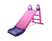 Детская горка пластиковая для катания, для дома и улицы, розово-фиолетовая