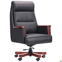 Кресло офисное кожаное AMF Grant чёрное, фото 1