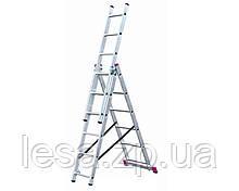 Драбина алюмінієва трисекційна універсальна 3 х 6 ступенів