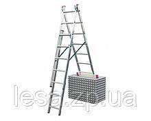 Алюмінієва трисекційна універсальна драбина 3 х 7 ступенів