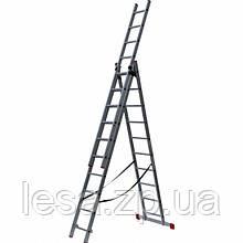 Алюмінієва трисекційна універсальна драбина 3 х 10 сходинок