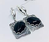 Срібні сережки з підвісом та агатом Форос, фото 2