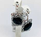 Срібні сережки з підвісом та агатом Форос, фото 4