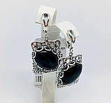 Срібні сережки з підвісом та агатом Форос, фото 5
