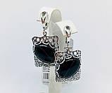 Срібні сережки з підвісом та агатом Форос, фото 6