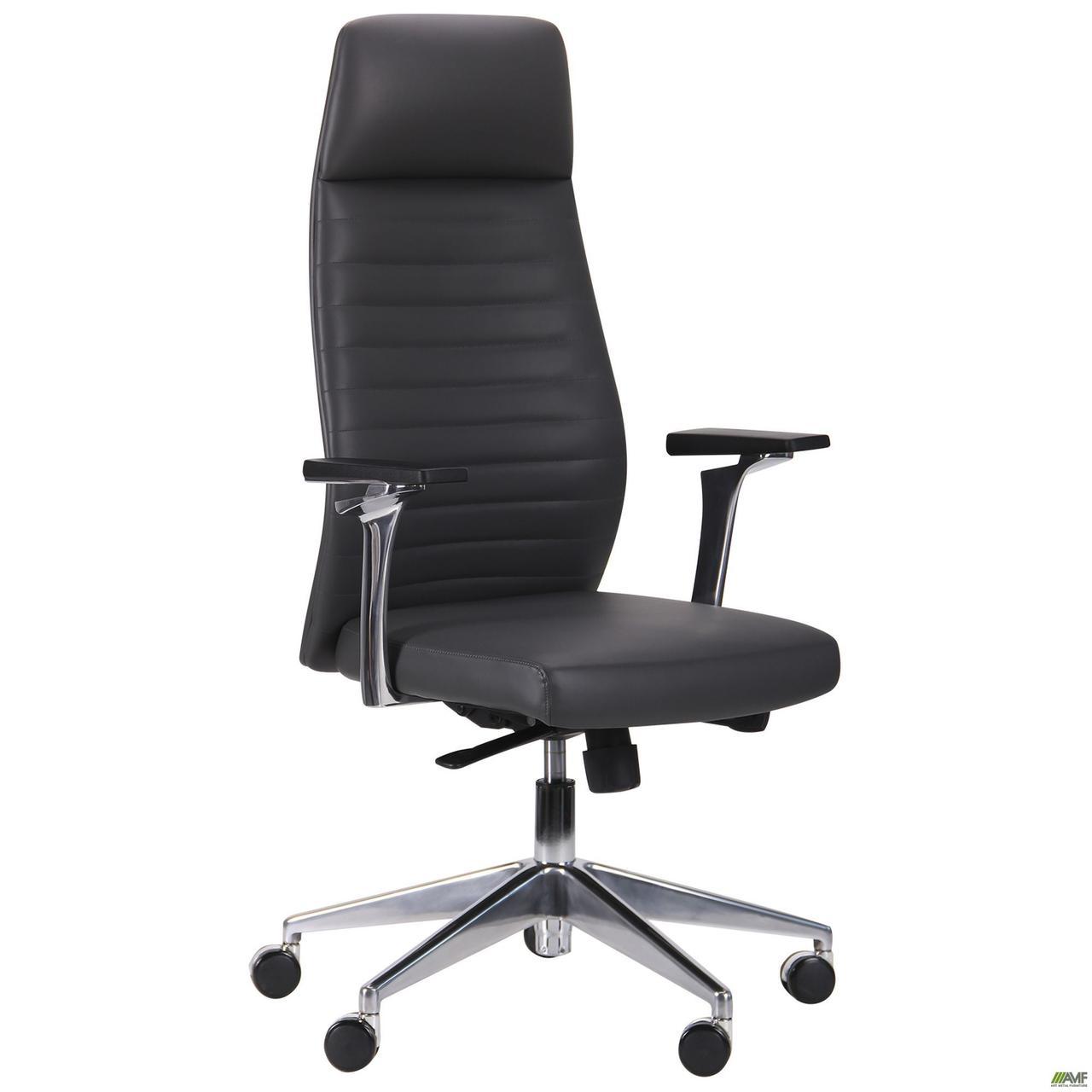 Кресло офисное кожаное AMF Ilon HB серое
