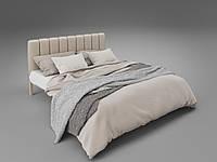 Кровать двуспальная металлическая с мягким изголовьем Фуксия