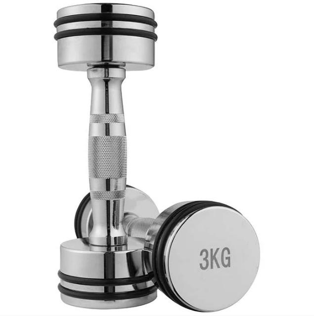 Гантель хромове покриття для фітнесу, гумове кільце, 3 кг, 1 шт.