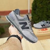 Мужские замшевые кроссовки Nеw Balance 574 серые (чёрная N), фото 1