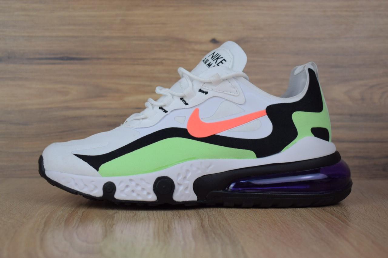 Мужские текстильные кроссовки Nike Air Max React 270 белые с салатовым