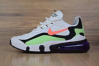 Мужские текстильные кроссовки Nike Air Max React 270 белые с салатовым, фото 1